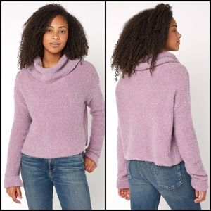 Free People Lavender Teddy Crop Cowl Neck Sweater